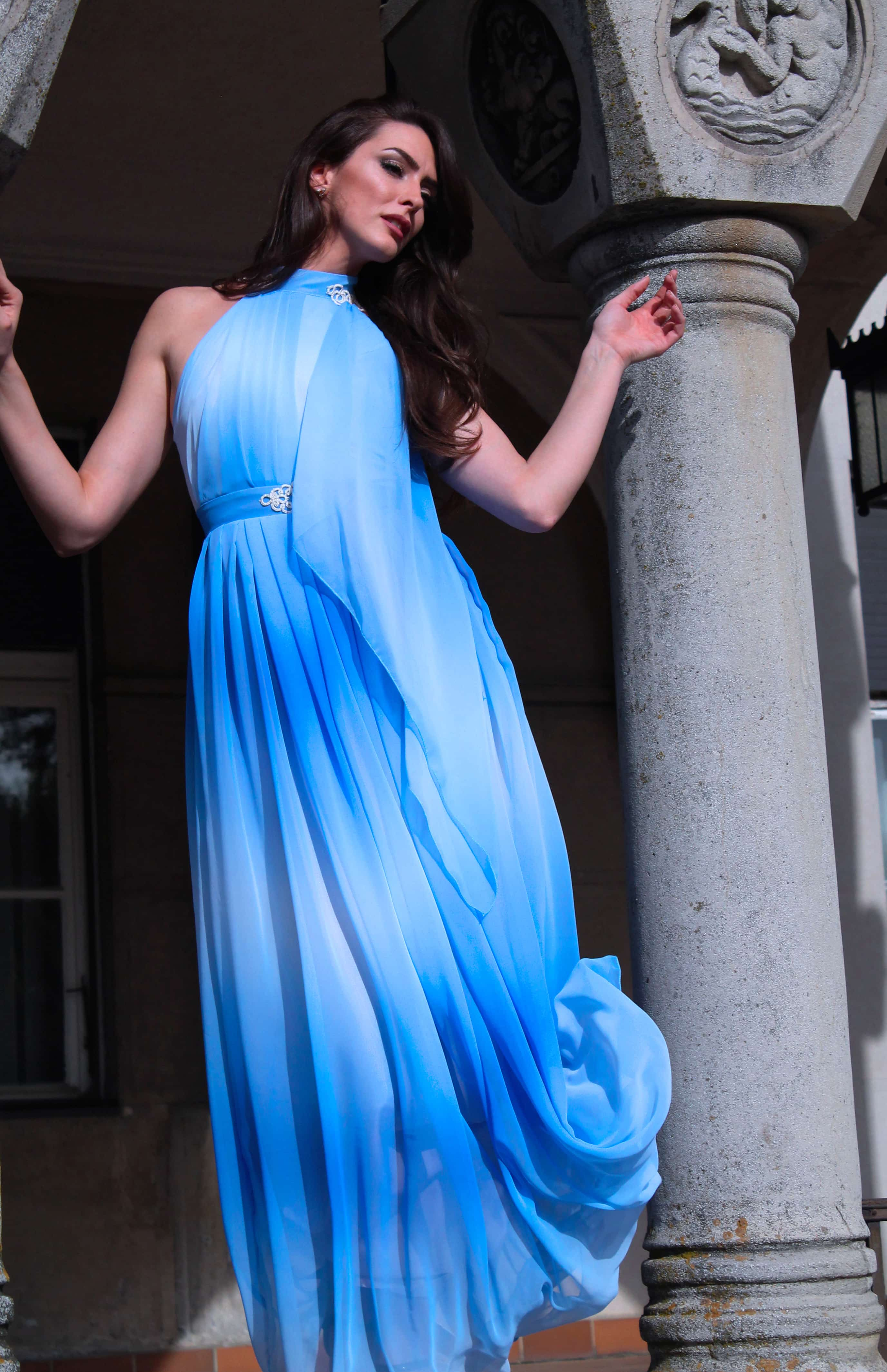 Sarossow couture blue sky dress with handmade details by Sladjana Starcevic