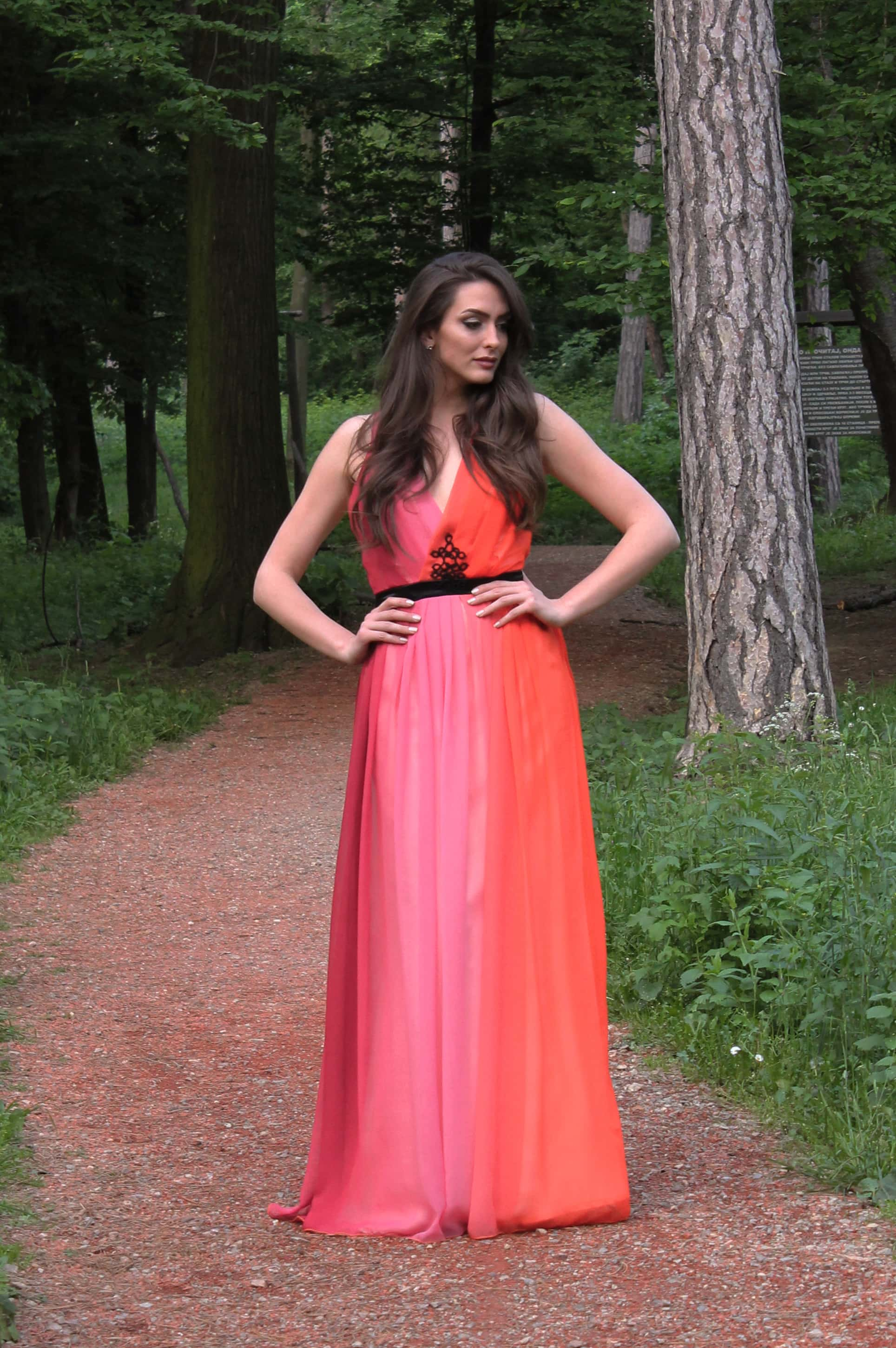 Sarossow couture orange pink dress with black belt and handmade details forest by Sladjana Starcevic